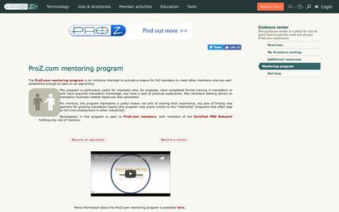 Mentoring program | Guidance center | ProZ.com
