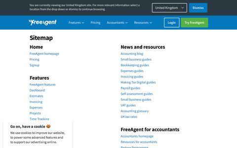 Screenshot of Site Map Page freeagent.com - Site map - FreeAgent - captured Feb. 7, 2020