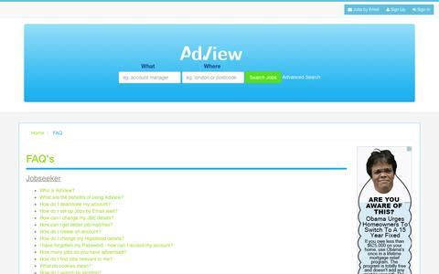 Screenshot of FAQ Page adview.co.uk - AdView - captured Jan. 27, 2016