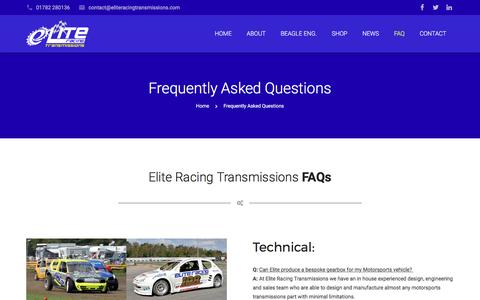 Screenshot of FAQ Page eliteracingtransmissions.com - Elite Racing Transmissions | Frequently Asked Questions - captured May 17, 2017