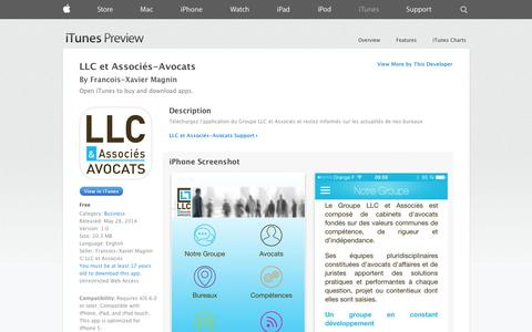 Screenshot of iOS App Page apple.com - LLC et Associés-Avocats on the App Store on iTunes - captured Oct. 22, 2014