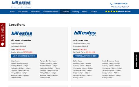 Screenshot of Contact Page Locations Page billestes.com - Locations | Bill Estes Auto Group - captured Feb. 7, 2016