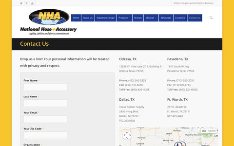 Screenshot of Contact Page nationalhose.com - Contact Us - National Hose & Accessory - captured Oct. 7, 2014
