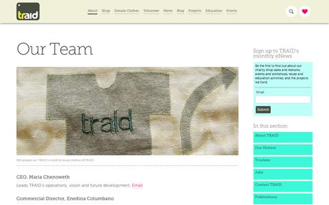 Screenshot of Team Page traid.org.uk - Our Team - TRAID - captured Sept. 21, 2018