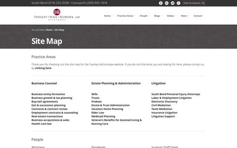 Screenshot of Site Map Page thklaw.com - Site Map - Tuesley Hall Konopa, LLP - captured Nov. 4, 2014