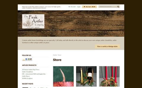 Screenshot of Products Page peakantlers.com - Antler Chandelier Store - PeakAntlers.com - captured Oct. 1, 2014