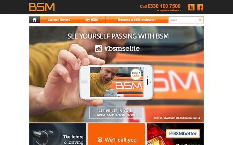 Screenshot of Home Page bsm.co.uk - BSM - BSM Driving Lessons call 0330 100 7500 - captured Jan. 27, 2015