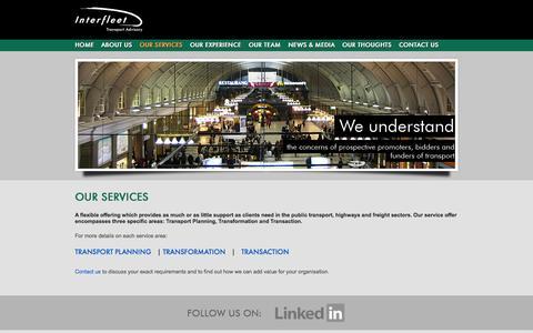 Screenshot of Services Page transportadvisory.com - Interfleet Transport Advisory :: Our Services - captured Oct. 6, 2014