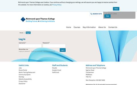 Screenshot of Login Page rutc.ac.uk - Richmond upon Thames College | Register for Open Events and Apply for September 2016 | Log in - captured Feb. 17, 2016