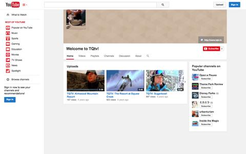 Screenshot of YouTube Page youtube.com - Welcome to TQtv!  - YouTube - captured Oct. 24, 2014