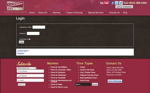 Screenshot of Login Page dmafloors.com - Login - captured Sept. 30, 2014