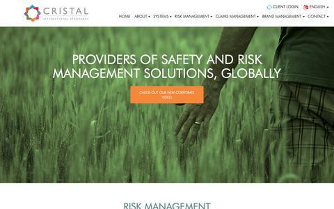 Screenshot of Home Page cristalstandards.com - Cristal International Standards   Health & Safety Risk Management - captured Sept. 29, 2018