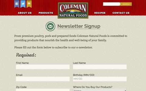 Screenshot of Signup Page colemannatural.com - Newsletter Signup | Coleman Natural Foods - captured Nov. 2, 2014