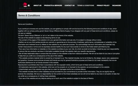 Screenshot of Terms Page sevengroupoffshore.com - SEVEN Group Offshore marine supply - Terms & Conditions - captured Oct. 7, 2014