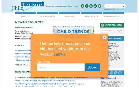 Screenshot of Press Page childtrends.org - News/Resources | Child Trends - captured July 13, 2016
