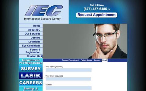 Screenshot of Contact Page iec2020.com - Email | IEC - International Eyecare Center - captured Feb. 11, 2016