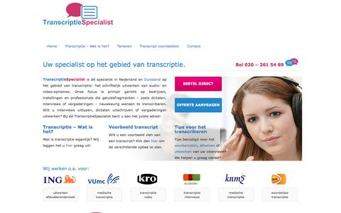 Screenshot of Home Page transcriptie.com - Transcriptie.com | Dé transcriptie specialist van Nederland - captured Dec. 3, 2016