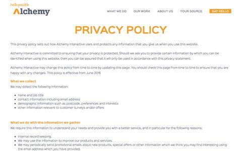 Screenshot of Privacy Page alchemyinteractive.co.uk - Alchemy Web Agency - Privacy Policy - captured Nov. 20, 2016