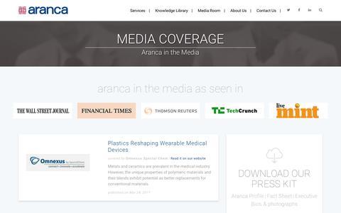 Screenshot of Press Page aranca.com - Media Coverage - Aranca in the Media | Aranca - captured March 29, 2017