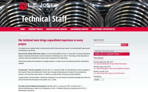 Screenshot of Team Page lejones.com - Manufacturing Technical Staff | L.E. Jones Company, Inc. - captured Oct. 1, 2014