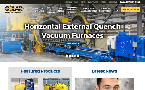 Screenshot of Home Page solarmfg.com - Solar Manufacturing - Our vacuum heat treating and brazing furnaces are designed to be the most energy efficient, cost effective, highest performing and most technically advanced furnaces on the market. - captured Oct. 18, 2018