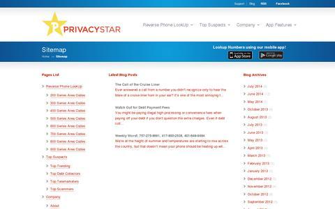 Screenshot of Site Map Page privacystar.com - Sitemap   PrivacyStar - captured July 20, 2014