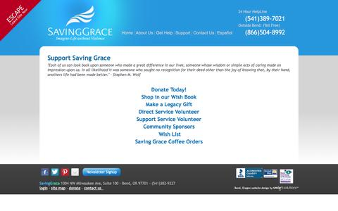 Screenshot of Support Page saving-grace.org - Support - captured Nov. 19, 2016