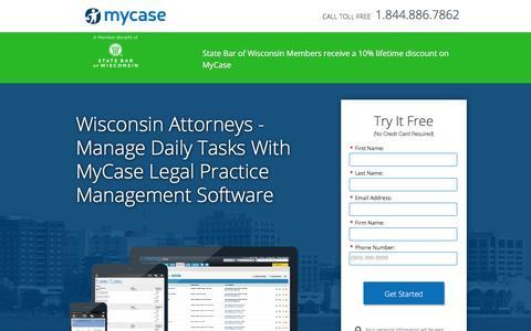 Screenshot of Landing Page mycase.com - MyCase | Legal Practice Management Software - captured Jan. 13, 2017