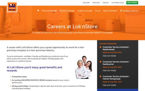 Screenshot of Jobs Page loknstore.co.uk - Careers in the self storage industry | Lok'nStore - captured Aug. 24, 2017