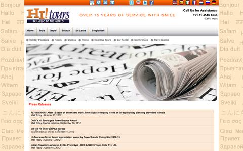 Screenshot of Press Page hi-tours.com - Hi ! Tours Press Releases: Read Award winning stories on Hi-Tours.com - captured Sept. 30, 2014