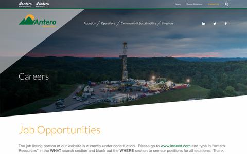 Screenshot of Jobs Page anteroresources.com - Careers :: Antero Resources Corporation (AR) - captured Jan. 29, 2019