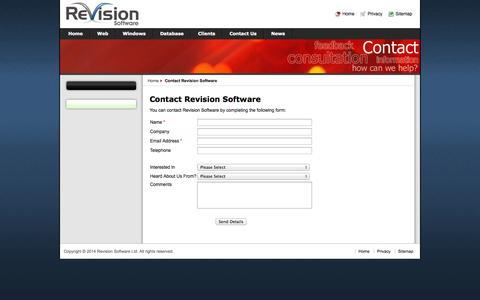 Screenshot of Contact Page revisionsoftware.com - Contact Revision Software - captured Oct. 8, 2014