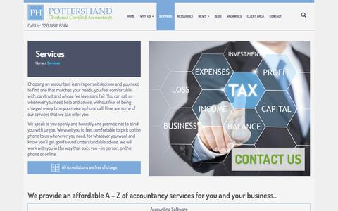 Screenshot of Services Page pottershand.co.uk - Services | Pottershand - Accountants in Wallington | Accountants - captured Sept. 28, 2018