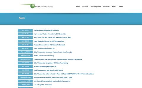 Screenshot of Press Page biopacificventures.com - Bio Pacific Ventures | News - captured Sept. 30, 2014