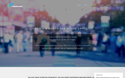 Screenshot of Pricing Page laborsync.com - Just $10 a month per active employee — Labor Sync - captured Nov. 4, 2018