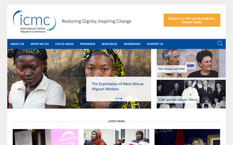 Screenshot of Home Page icmc.net - The International Catholic Migration Commission (ICMC) protects and serves uprooted people - captured Dec. 16, 2018