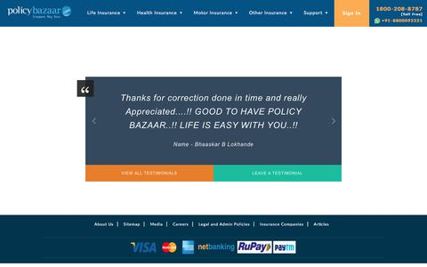 Screenshot of Testimonials Page policybazaar.com - Testimonials of Insurance Holders – PolicyBazaar - captured Nov. 27, 2016