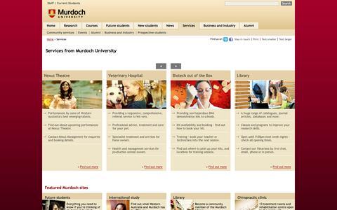 Screenshot of Services Page murdoch.edu.au - Services from Murdoch University in Perth Australia - captured Sept. 25, 2014