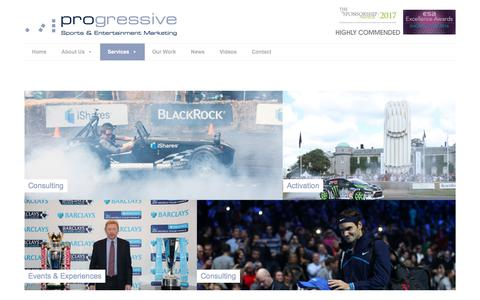 Screenshot of Services Page progressive-marketing.co.uk - Sponsorship | Sport Marketing | Events - captured Sept. 9, 2017