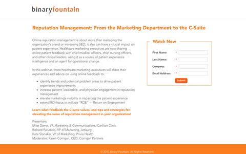 Screenshot of Landing Page binaryfountain.com - Healthcare Reputation Management Webinar - captured June 18, 2017