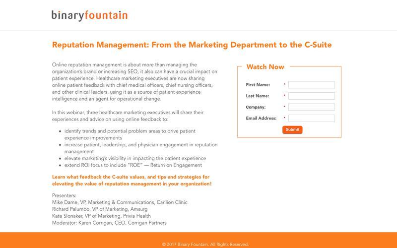 Healthcare Reputation Management Webinar