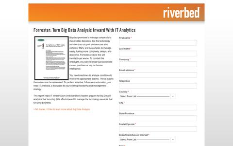Screenshot of Landing Page riverbed.com - Contact Riverbed | Forrester: Turn Big Data Analysis Inward With IT Analytics  | Riverbed - captured Oct. 27, 2014