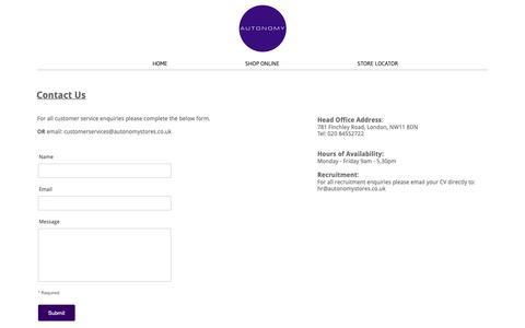Screenshot of Contact Page autonomystores.com - Contact Us - Autonomy - captured Nov. 27, 2018