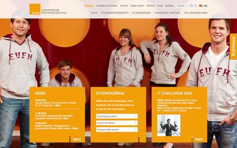 Screenshot of Home Page eufh.de - EU|FH - Europäische Fachhochschule - Duales Studium - Berufsbegleitendes Studium - Startseite - EU|FH - Europäische Fachhochschule | Köln/Brühl | - captured Sept. 19, 2014