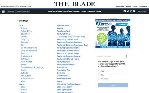 Screenshot of Site Map Page toledoblade.com - The Blade - captured Feb. 14, 2020