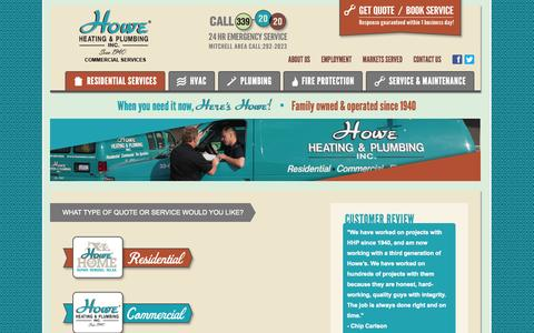 Screenshot of Contact Page howeinc.com - Contact Us or Request a Quote/Service - Howe Heating and Plumbing - captured Oct. 3, 2014