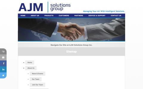 Screenshot of Site Map Page ajmsolutionsgroup.com - AJM Solutions Group Inc.  - Hospitality Solutions - captured Feb. 4, 2016
