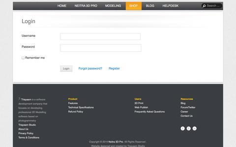 Screenshot of Login Page triayaam.com - Login | Neitra 3D Pro - captured Oct. 7, 2014