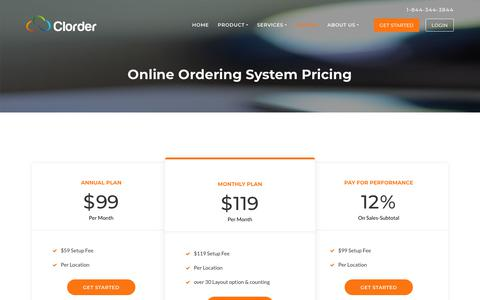 Screenshot of Pricing Page clorder.com - Online Ordering System Pricing | Clorder - captured June 23, 2018