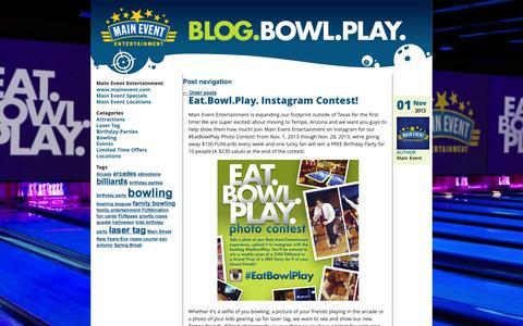 Screenshot of Blog mainevent.com - Blog Bowl Play   Welcome to Main Event Blog - captured Oct. 27, 2014
